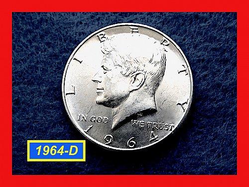 """1964-D JFK HALF ★ """"MS-63"""" Uncirculated ★  (#1833)a"""