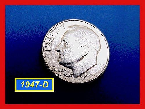 """1947-D   Silver Dime ✬ """"VF-30""""   ✬  (#3675a)a"""