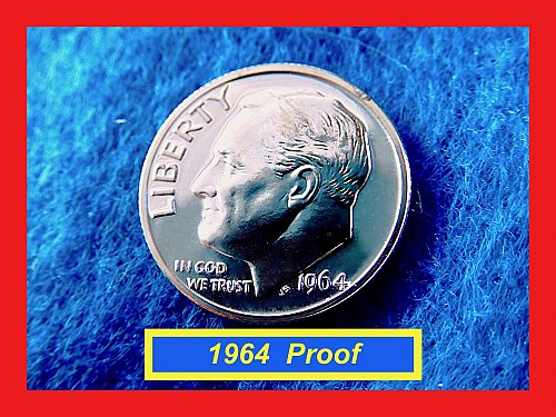 "PROOF 1964 Dime ☆ Cameo with Grade of ""PR-62"" (#3739)a"