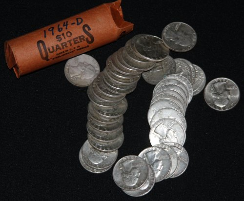 COLLECTIBLE *SILVER* ROLL OF 40 1964-D WASHINGTON QUARTERS $10 FACE VALUE....