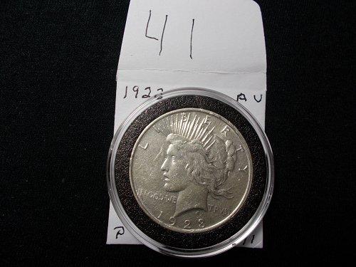 1923 PEACE 90 %  SILVER DOLLAR  A/U  # 41