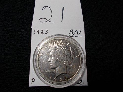 1923 PEACE 90 %  SILVER DOLLAR  A/U  # 21