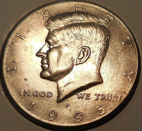 1995-P Kennedy Half Dollar Spike Head Die Crack Error.
