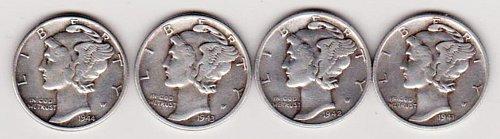 1941-S, 1942-S, 1943, 1944 Mercury Silver Dimes.