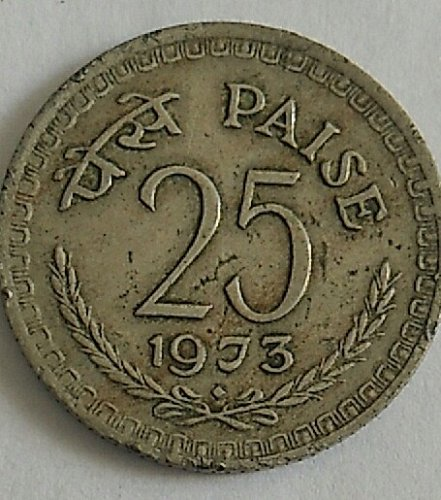 india 1973...used coin..25 paisa...