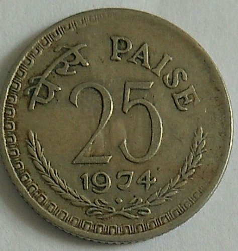 india 1974....used coin..25 paisa..