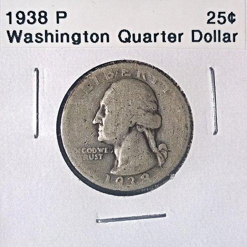 1938 P Washington Quarter Dollar