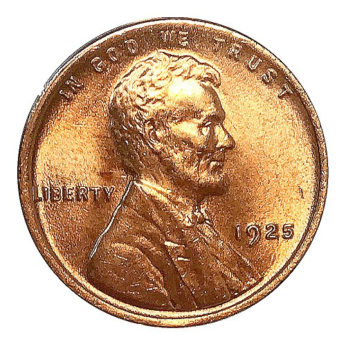 1925 P Lincoln Wheat Cent - Red Gem BU / MS RD / UNC