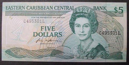 Eastern Caribbean States P22l1 5 Dollars UNC65