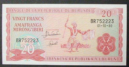 Burundi P27b 20 Francs UNC65