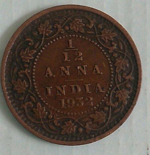 india coin circulated..1/12....Anna..1932