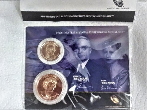 Harry Truman One Dollar Coin and First Lady Medal Set--Official US Mint