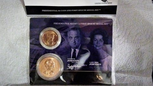 Lyndon Johnson One Dollar Coin and First Lady Medal Set--Official US Mint
