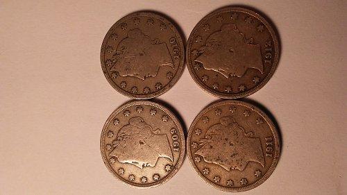 4 COIN SET 1909 THRU 1912 LIBERTY V NICKELS