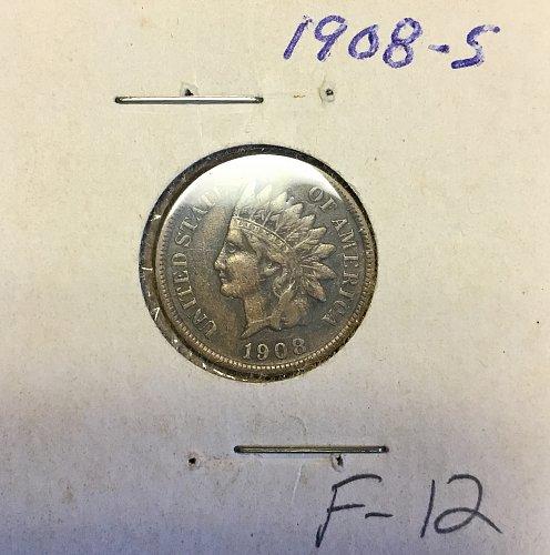 U.S. Indian Head Penny  1908s :  F-12  /  WM-80