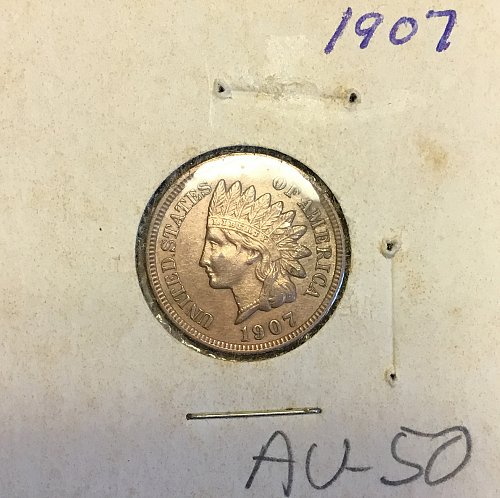U.S. Indian Head Penny  1907 :  AU-50  /  WM-82
