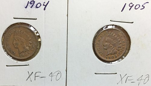 U.S. Small Indian Head Collection:  1904 & 1905  both EF-40 /   WM-86
