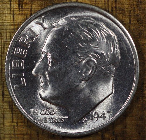 1947 P Choice BU Roosevelt Dime from OBW Roll