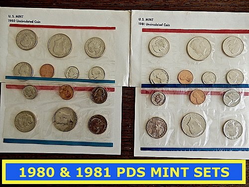 2 Mint Sets ☆ 1980-PDS & 1981-PDS ☆ Original Package (#9123)a