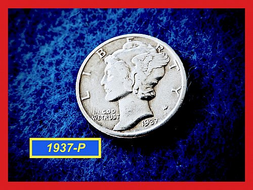 "1937-P Mercury Dime  ☆ ""Very Fine""  (#3716)a"