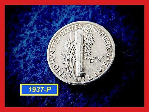 """1937-P Mercury Dime  ☆ """"Very Fine""""  (#3716)a"""