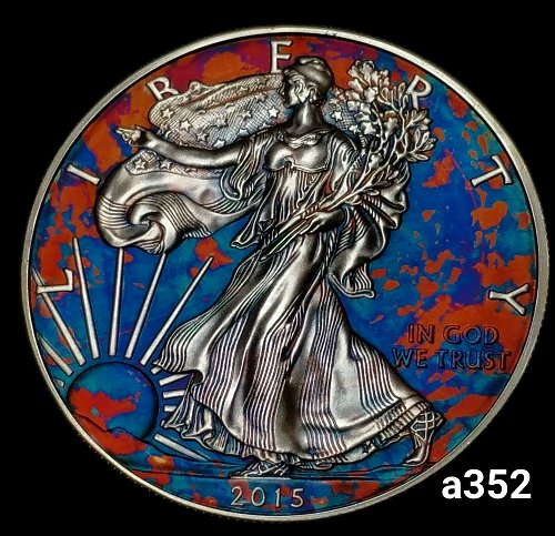 2015 Rainbow Toned Silver American Eagle 1 troy ounce silver Monster toned #a352