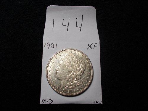 1921     D  MORGAN 90% SILVER   X / F    # 144