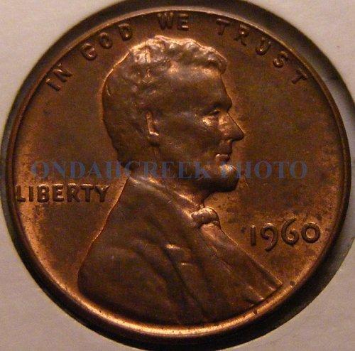 1960 Lg Dt Lincoln Cent Spiked Head Split Die Mint Error CH AU