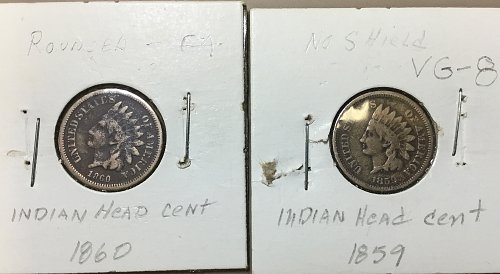 U.S. Small Indian Head Collection:  1859 & 1860   /   L & S-18