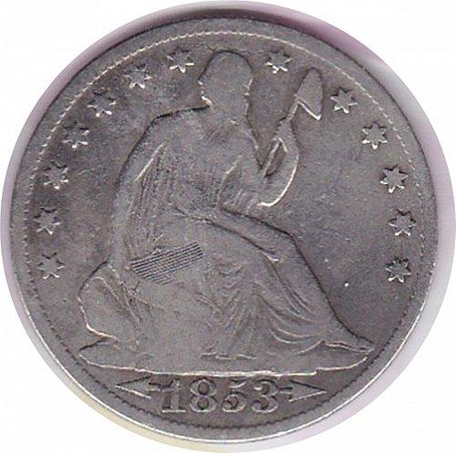 1853 o Seated Liberty Half Dollar W/ Arrows & Rays
