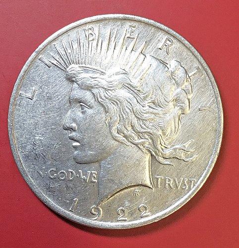 U.S.  Peace Silver Dollar- 1922    -EF-40  /  DR-63