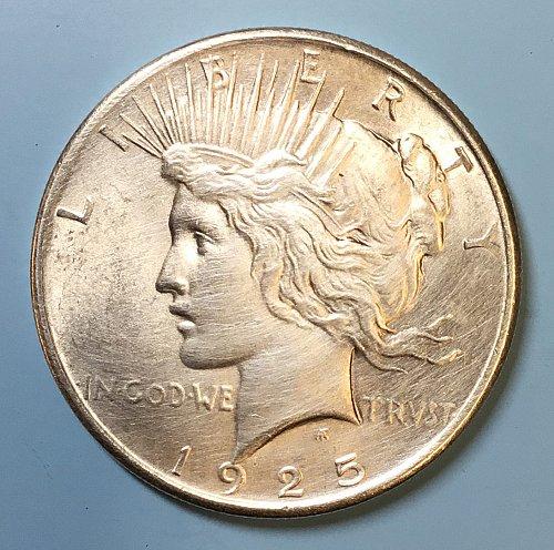 U.S.  Peace Silver Dollar- 1925  -   AU53   /  DR-64