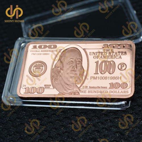 100 dollar 1oz.copper bar ben franklin