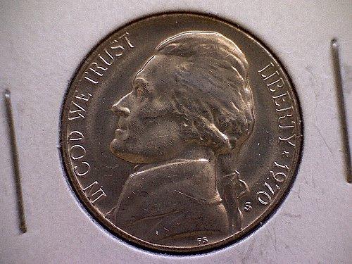 """1970 S Jefferson Nickel  """"MINT ERROR OFF CENTER OBVERSE"""""""