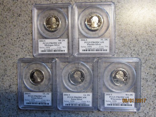 2004-S SILVER STATE QUARTER **SET** 5 COINS PCGS SLABS