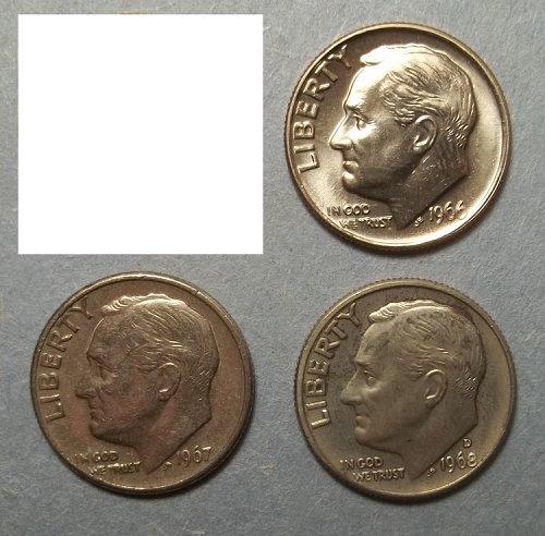 3 Roosevelt Dimes- Clad- Lot RsDAx