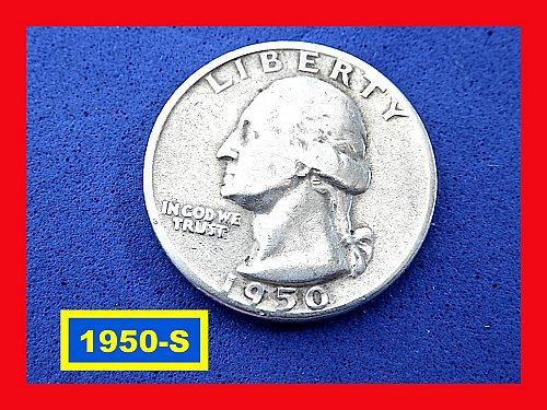 "1950-S   Washington Quarter ✬ ""Fine""   ✬★  (#2810)a"
