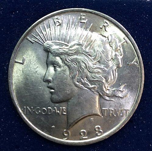 U.S.  Peace Silver Dollar- 1923  -   AU50   /  DR-69
