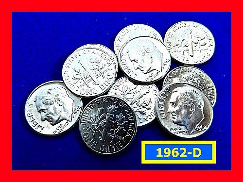"""1962-D Dime ☆ Lustrous MS63 """"BU"""" Coins ☆ (#3786)a"""