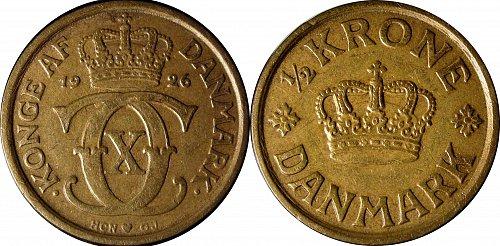 Denmark 1926 ½ Krone  Key Date   0073