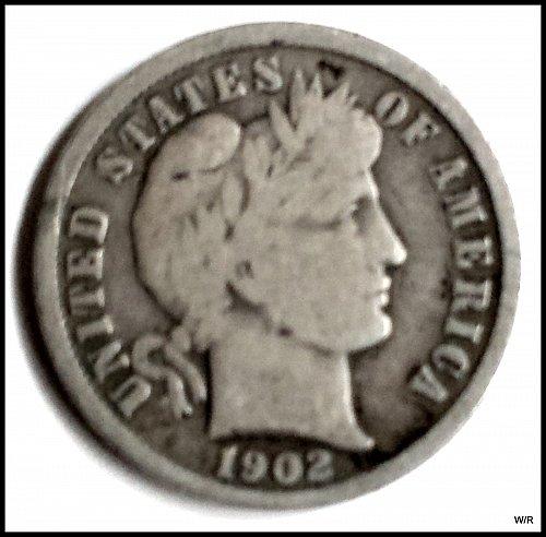 1902 P Barber Dime