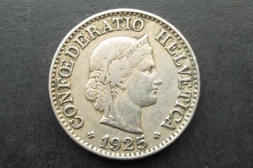 SWITZERLAND 1925 10 RAPPEN WORLD COIN