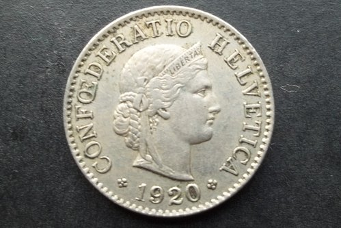 SWITZERLAND 1920 5 RAPPEN WORLD COIN