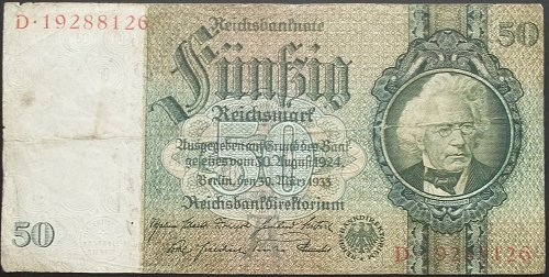 GERMANY 1933 50 MARK WORLD PAPER MONEY