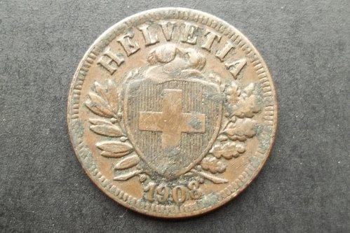 SWITZERLAND 1908 2 RAPPEN WORLD COIN