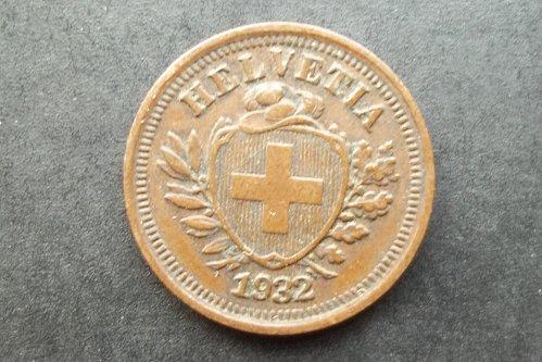 SWITZERLAND 1932 1 RAPPEN WORLD COIN
