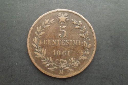 ITALY 1861-M 5 CENTESIMI WORLD COIN