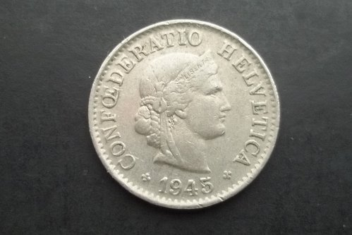 SWITZERLAND 1945 5 RAPPEN WORLD COIN