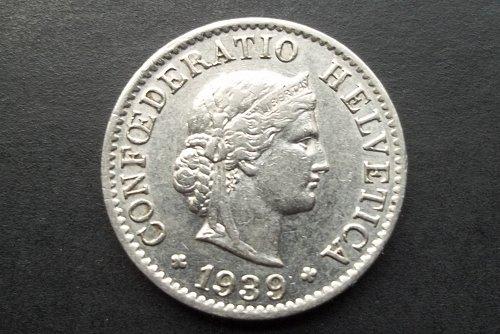 SWITZERLAND 1939 5 RAPPEN WORLD COIN