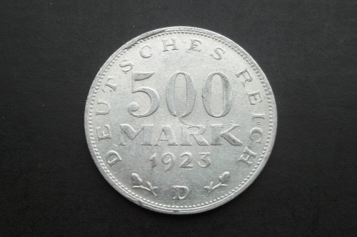 GERMANY 1923-D 500 MARKS WORLD COIN